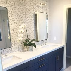 I'll take Monday morning blues if they are the kind like this dark navy vanity! My girlfriend from college was so sweet to send me this picture of her master bathroom remodel. She said my style has inspired her which makes me so happy. How about that wall of tile back there? #SterlingSilverBenjaminMoore