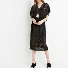HDY Haoduoyi Sexy Hollow Out Batwing Sleeve Double V Neck Dress Black Lace Slim Crop Backless Midi Dress Party Chic Vestido