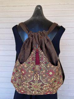 Brown Tapestry Backpack Brown Book Bag Boho Backpack Renaissance Backpacks