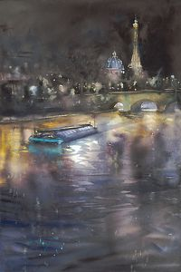 Paris La Nuit I by Keiko Tanabe Watercolor ~ 21 1/2 x 14 1/4 inches (54.5 x 36 cm)