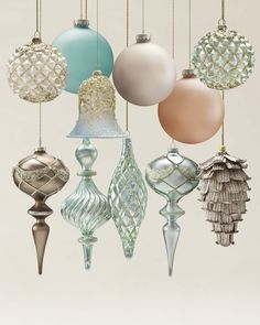 Winter Frost Blown Glass Ornament Set