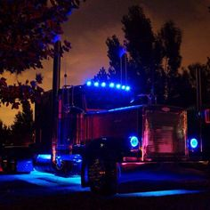 http://logisticalmadness.com   Peterbilt w/blue chicken lights