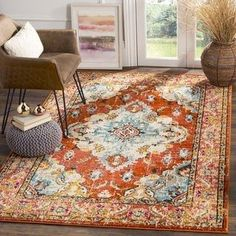 Safavieh Monaco Amelie Vintage Medallion Orange/ Light Blue Rug - X Tsukiji, Orange Rugs, Orange Area Rug, Orange Carpet, Light Blue Area Rug, Blue Area Rugs, Blue Rugs, Amelie, Monaco