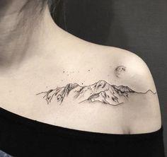 200+ Best Mountain Tattoos for Men (2020) Range, Geometric, Simple, Small Designs Cute Tattoos, Beautiful Tattoos, Body Art Tattoos, New Tattoos, Small Tattoos, Moon Tattoos, Tatoos, Pretty Tattoos For Women, Meaning Tattoos