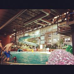 Huge 10ft deep pool and awesome slide in hotel
