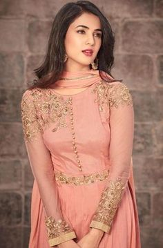 Discover thousands of images about Salmon Peach Designer Embroidered Net Party Wear Anarkali Suit Pakistani Dress Design, Pakistani Dresses, Indian Dresses, Anarkali Dress, Anarkali Suits, Lehenga, Punjabi Suits, Punjabi Dress, Pakistani Suits
