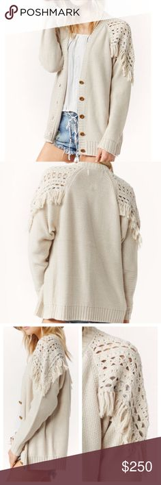FRINGE CARDIGAN Oversized Slouchy Sweater Jacket Available Women's Sizes: XS/S. New with tags.  $195 Retail + Tax.  • Beautiful and effortless, this slouchy cardigan pairs perfectly with your favorite denim. • Features open knit detailing, slight v-neckline and fringed shoulders for an incredibly bohemian vibe.  • Optional button-down front.  • Measurements provided in comment(s) section below.    {Southern Girl Fashion - Boutique Policy}   ✔️ Same-Business-Day Shipping (10am CT). ✔️ Price…