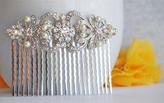 Vintage Pearl Bridal Hair Comb Wedding Hair Comb by BrideShop, $52.00 Etsy