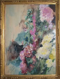 "Watercolor ""Flowers"" by the spanish-venetian artist, Mariano Fortuny y Madrazo. 1927"