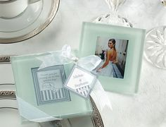 Classic Frosted Glass Coasters Wedding Bomboniere (Sets of 2)