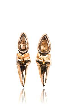 Shark Tooth Rose Cut Earrings by Sara Beltran for Preorder on Moda Operandi