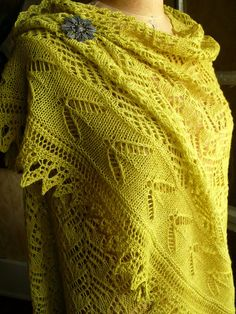 A Faroese shawl in one size with allover floral and fern patterns finishing with a banded insect motif just above the hem. Shawl is worked top-down, with shaping at the shoulders and an applied (knitted on) lace edging at the hem border. Summer Knitting, Lace Knitting, Shawl Patterns, Knitting Patterns, Work Tops, Stockinette, Knitted Shawls, Butterfly Wings, Crochet