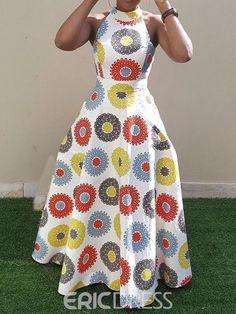 african fashion Material:Twilled Satin Silhouette:Expansion Dress Length:Floor-Length Sleeve Length:Sleeveless Combination Type:Single Waist Line:Standard-Waist Closure:Pullover Elasti African Print Fashion, African Fashion Dresses, Fashion Prints, Dress Fashion, African Attire, African Dress, African Style, Backless Long Dress, Dress Long