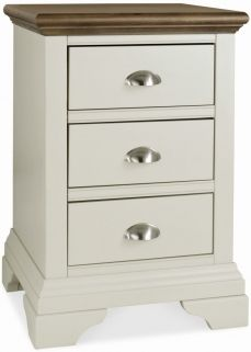 Bentley Designs Hampstead Soft Grey and Walnut Bedside Cabinet - 3 Drawer