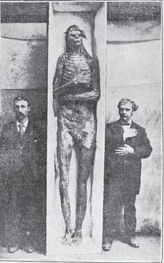 9 Foot Mummified Remains of a Nephilim Giant in California. Smithsonian purchases the mummy and only declares it a hoax after they take it to the Smithsonian where it would disappear forever.