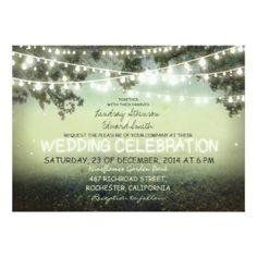 String of Lights Rustic Wedding Invitation by Zazzle Designer Jinaiji #zazzle #enchangedforest #wedding #weddingstationery