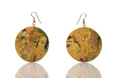 Klimt Jewellery earrings mixed media collage fashion Yellow Pink Gold Round jewelry by HandmadeDecoupage, €21.00