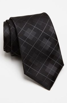 BOSS HUGO BOSS Woven Silk Tie.  Razor-sharp checks pattern a sleek tie cut from pure silk.