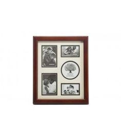 Drewniana ramka na 5 zdjęć w brązowej ramie. Ramka do postawienia.