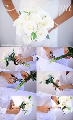 DIY White Rose and Calla Lily Bouquet.  Save money and make your own bridal bouquet with high-quality faux flowers from Afloral.com.
