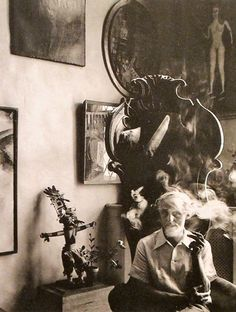 Max Ernst (1891-1976) in his home