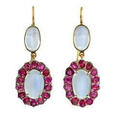 Art Nouveau 14k Gold, Sterling Silver, Moonstone & Ruby Cluster Earrings   c. 1910's