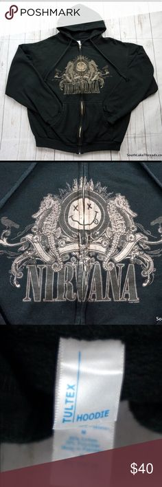 "Nirvana Full Zip Hooded Sweatshirt Rate 2007 Rock Rare 2007 Full Zip Nirvana Hooded Sweatshirt Men's Medium. Very Rare Style and a quality heavy knit sweatshirt by Tulex. Very good shape and ships in 1 business day or less from a clean and smoke free environment. Measurements: Sleeve: 23"" inches • Chest: 22.5"" inches • 25"" inches. Last and only one we have don't miss out. Must own for any Nirvana Fan! Nirvana  Shirts Sweatshirts & Hoodies"