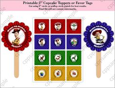 Toy Story 2 Cupcake Toppers or Favor Tags  by CreativePartyPixels, $4.00