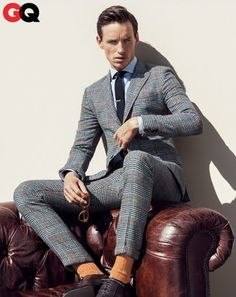 Ladies, picture your man in this! Can you get him to wear too tight twill, flesh colored socks, and rock that expression?! CREEPY-Eddie Redmayne in GQ - Men's Fall Fashion 2013 Preview