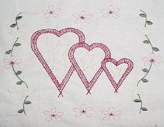 Heart Trio Sampler, 4x4 Split | Primitive | Machine Embroidery Designs | SWAKembroidery.com HeartStrings Embroidery