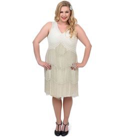 Plus Size Ivory & Silver Fitzgerald #Flapper Dress, Perfect for a 1920s #Wedding
