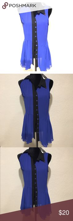 Color Block Shirt Awesome color block black and blue shirt with Peplum bottom! Shirt is a bit shear so you may want to wear a tank or bralette underneath. Casual/Sexy Tops Blouses
