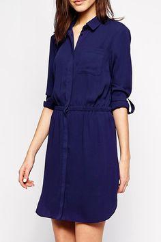 Shirt Collar Elastic Waist Blue Dress