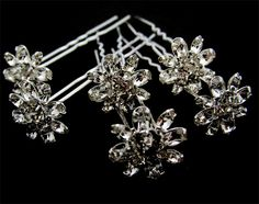 Set of 6 clear Crystal  bridal Hair Pins. $18.00, via Etsy.
