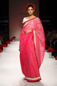 Pink Khaadi #Sarees by  Soumitra Mondal's www.MargCouture.com Howrah, Bengal