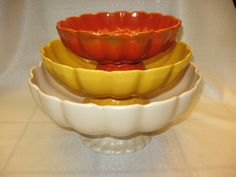 Catalina Pottery #240 to #242 Fluted Footed Bowls all 3 sizes