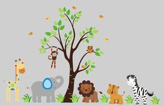 "Jungle Animals Nature Removable Reusable Wall Decal Baby Nursery Art 85"" x 120"""