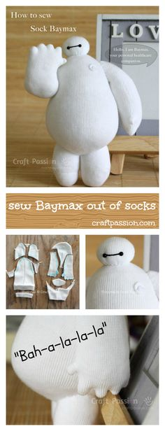 Baymax Doll - Free Sewing Pattern Full pattern and tutorial to show you how to sew sock Baymax, the cute robot in Big Hero 6 who is clumsy squishy in white vinyl balloon with eyes. Baymax, Sock Crafts, Cute Crafts, Crafts With Socks, Creative Crafts, Decor Crafts, Sewing Patterns Free, Free Sewing, Pattern Sewing