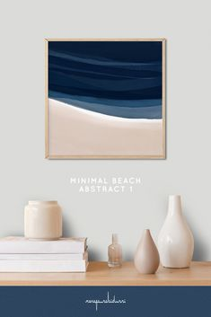 Minimal Beach Abstract 1 is a square format mixed media artwork in layered indigo, blue, sand and tan neutral colors for modern and scandinavian style interiors. #painting #abstract #landscape #seaside #seascape #ocean It is the first of two paintings that belong together but also work beautifully singly.