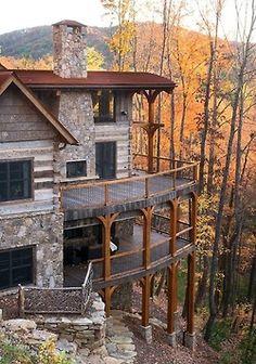 Outdoor deck fireplace