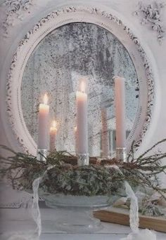 white Christmas Mirror and candlescape Christmas Candles, Noel Christmas, Primitive Christmas, Pink Christmas, Country Christmas, Winter Christmas, Vintage Christmas, Christmas Crafts, Christmas Scenes