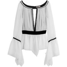 Emilio Pucci Silk Blouse (€3.185) ❤ liked on Polyvore featuring tops, blouses, shirts, white, cut-out shirts, silk blouses, slim shirt, slim white shirt and boatneck shirt