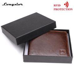 1c1f093a7cf46 100% Genuine Leather Wallet Men New Brand Purses for men Black Brown Bifold  Wallet RFID