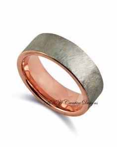 Mens Tungsten Band, Rose gold Band, Mens Band, 8mm, Rustic, Anniversary Ring, Wedding Band