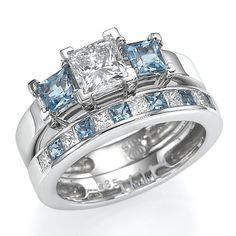 light blue diamond engagement rings Light Blue Aquamarine And