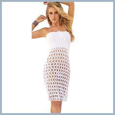 HOT! Blanco Convertible Bikini Cover Up Beach Skirt White Crochet Beach Dress Sexy Swimsuit Cover Ups