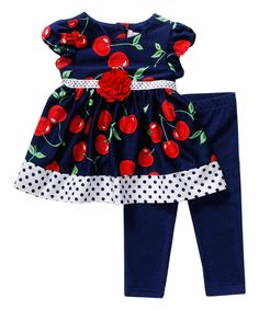 Loving this Navy & Red Cherry Babydoll Dress & Leggings - Infant & Toddler on #zulily! #zulilyfinds