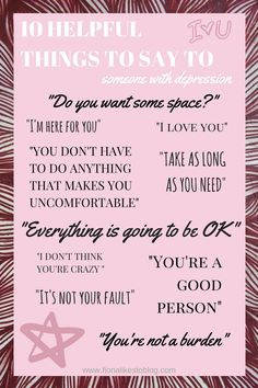 10 helpful things to say to someone with depression