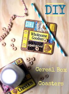 DIY Up-cycled cereal box drink coasters #sp