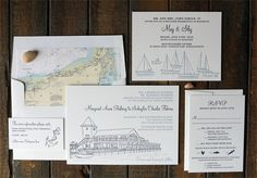 Margaret and Schuyler: a nautical themed 2 color letterpress wedding invitation featuring Cape Cod map liner and venue and sailboat illustrations - Lion In The Sun Park Slope Letterpress Wedding Invitations, Invites, Cape Cod Map, Cape Cod Wedding, Wedding Details, Wedding Ideas, Nautical Theme, 2 Colours, Our Love